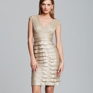 Adrianna Papell Gold Sheath cocktail wedding Dres